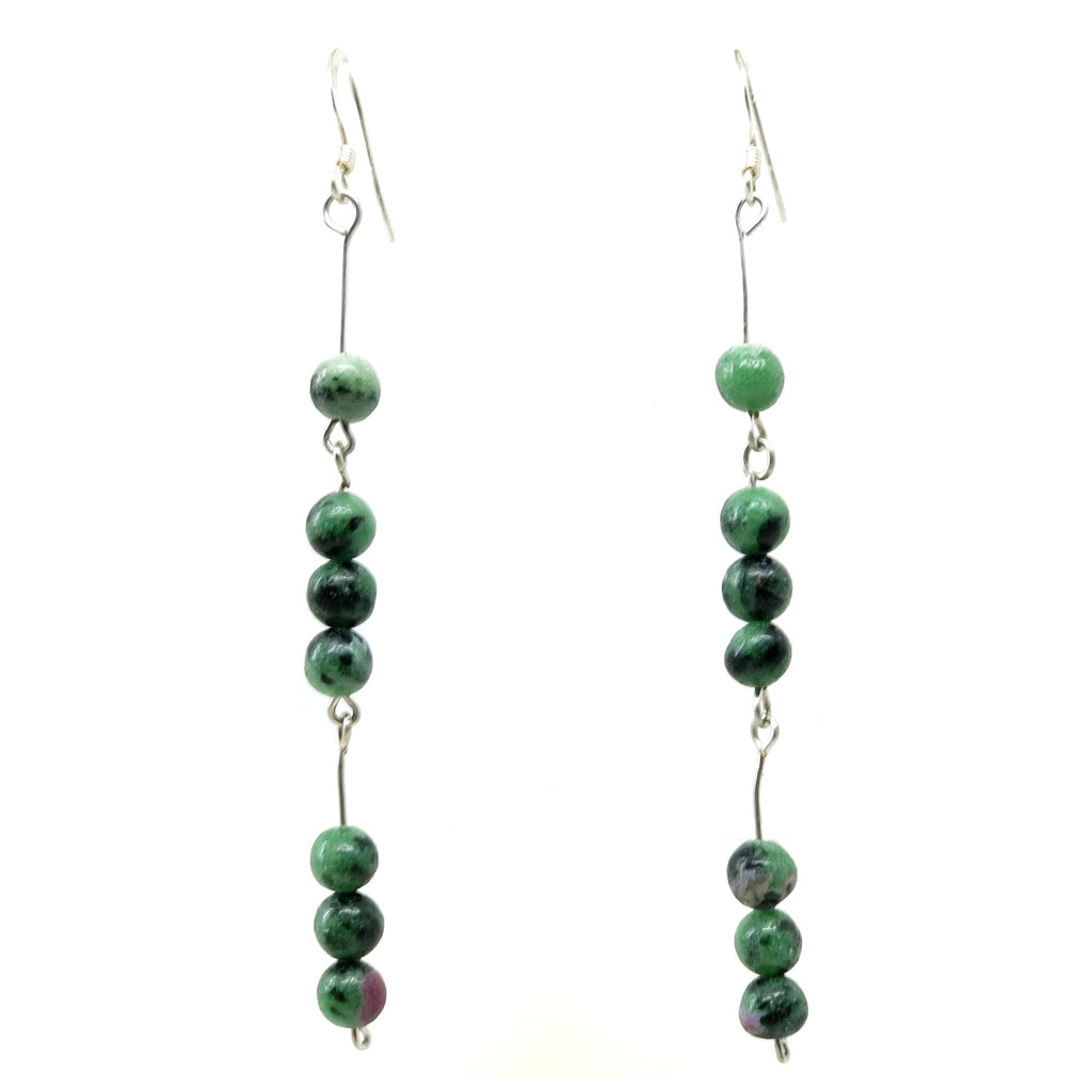Ruby Zoisite Earrings 01 Green Red Stone Long Dangle - I Dig Crystals