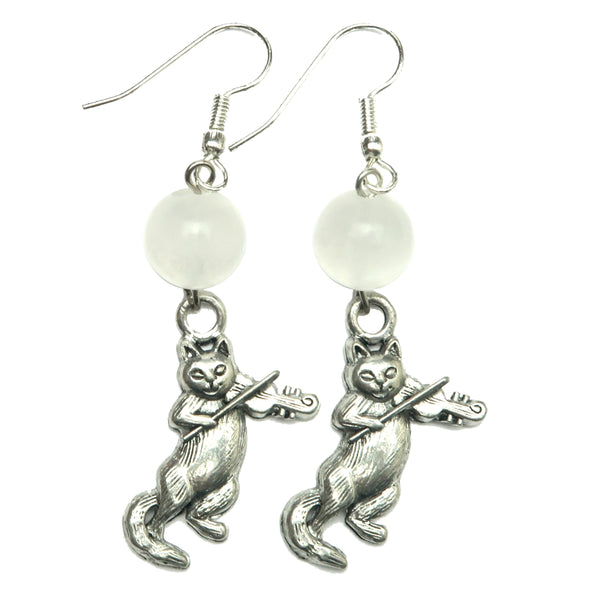 Selenite Earrings 02 - Cat Violin Silver Animal White Stone