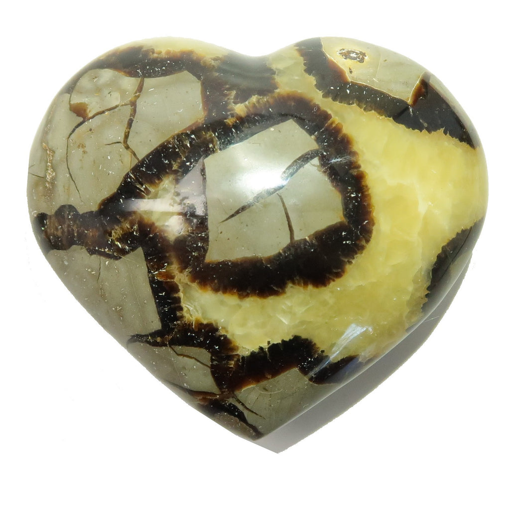 Septarian Heart 08 Yellow Gray Puffy Stone (3.4 Inches)