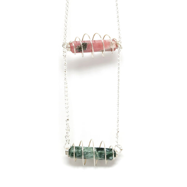 Seraphinite Necklace 03 Extra Long Green Stone Rhodochrosite - I Dig Crystals