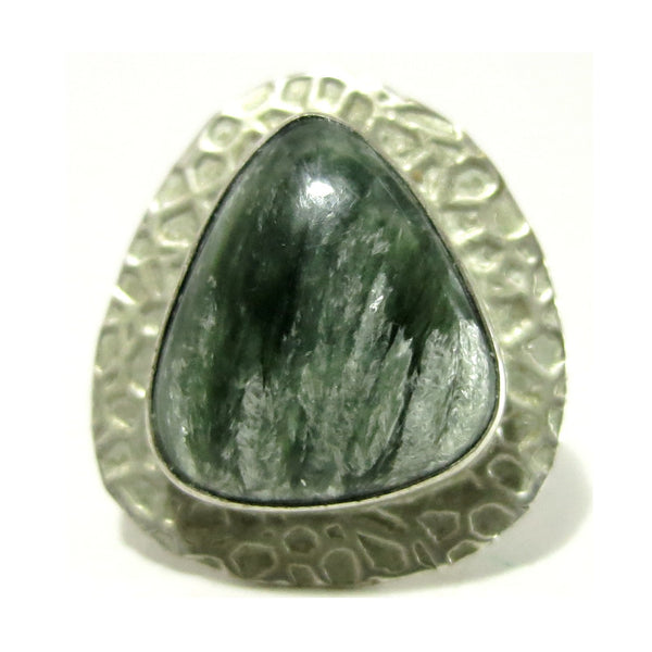 Seraphinite Ring 03 Green Gemstone Drop Hammered Silver (Size 6.5) - I Dig Crystals