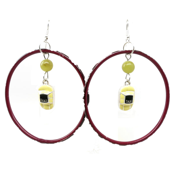Serpentine Earrings 10 Taxi Yellow Stone Cab New York Red Hoop - I Dig Crystals