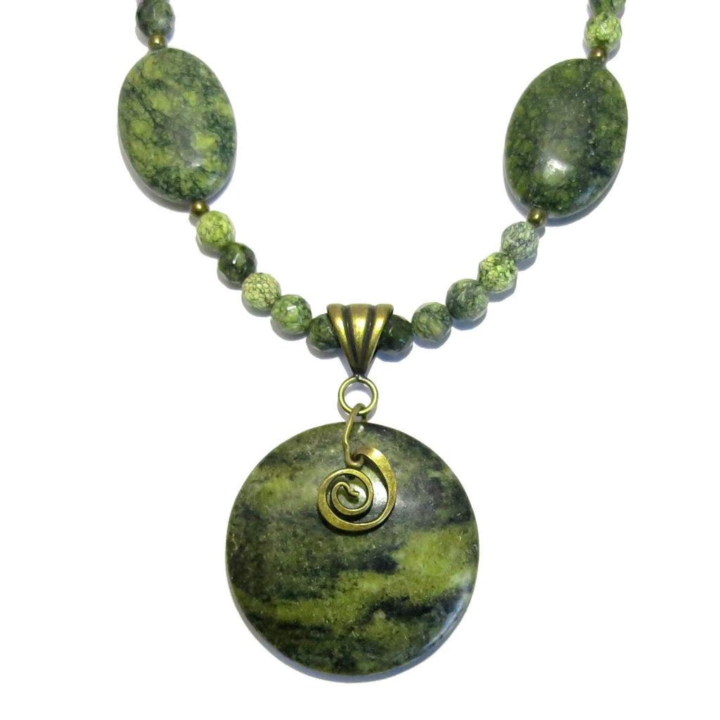 Serpentine Necklace 10 Long Green Stone