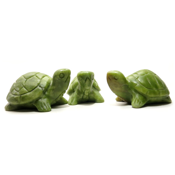 Serpentine Turtle 02 Set of 3 Family Green Stone Animal Carving Pack - I Dig Crystals