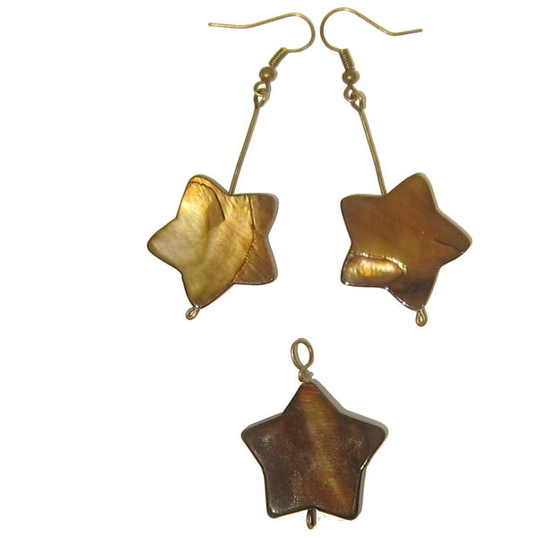Shell Set 01 Earrings & Pendant Brown Star Matching Jewelry - I Dig Crystals