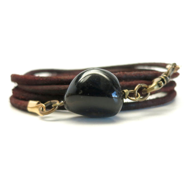 Smoky Quartz Bracelet 09 Brown Stone Leather Wrap