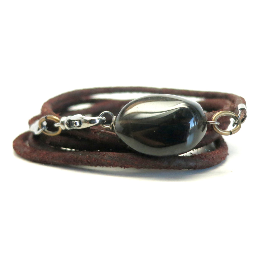 Smoky Quartz Bracelet 10 Brown Stone Leather Wrap