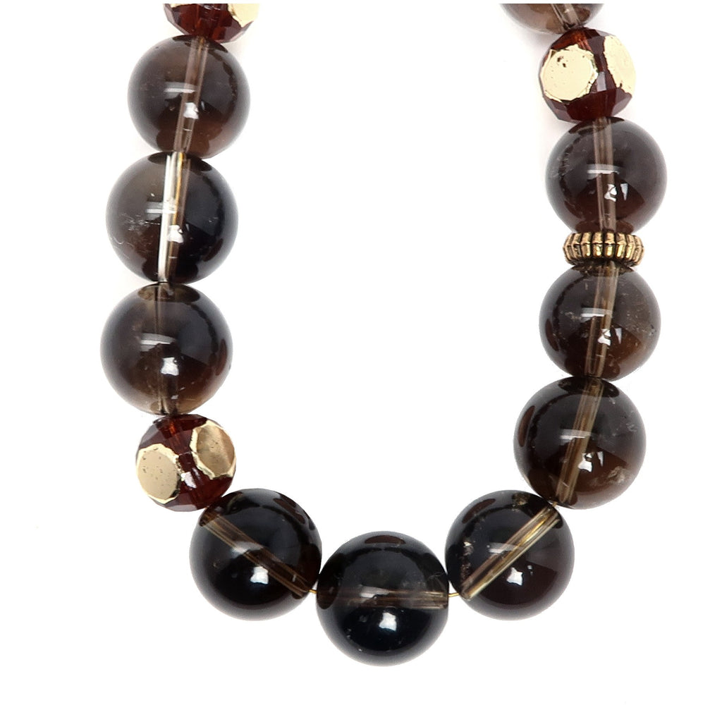 Smoky Quartz Necklace 07 Gold Filigree Brown Round