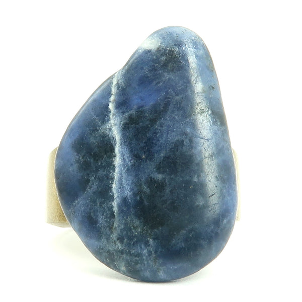 Sodalite Ring 01 - Blue Stone Antiqued Gold (Size 7.5)