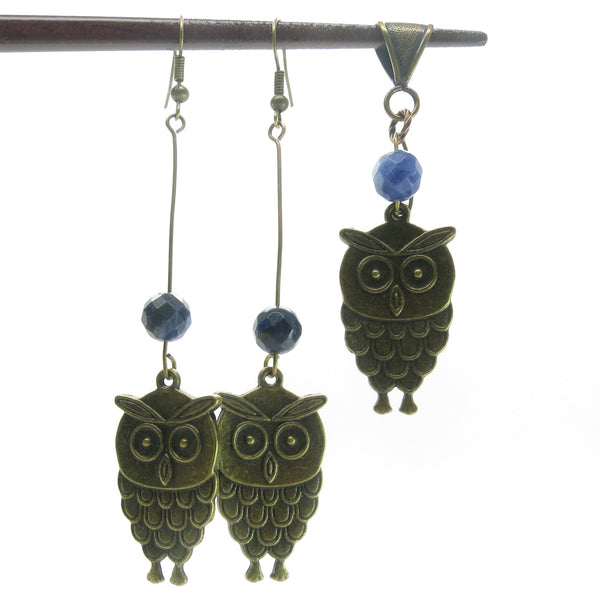 Sodalite Set 04 Owl Blue Stone Bird Matching Pendant & Earrings - I Dig Crystals