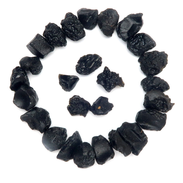Tektite Mineral 01 - Black Rough Nugget Root Chakra Stones (Set of 26)