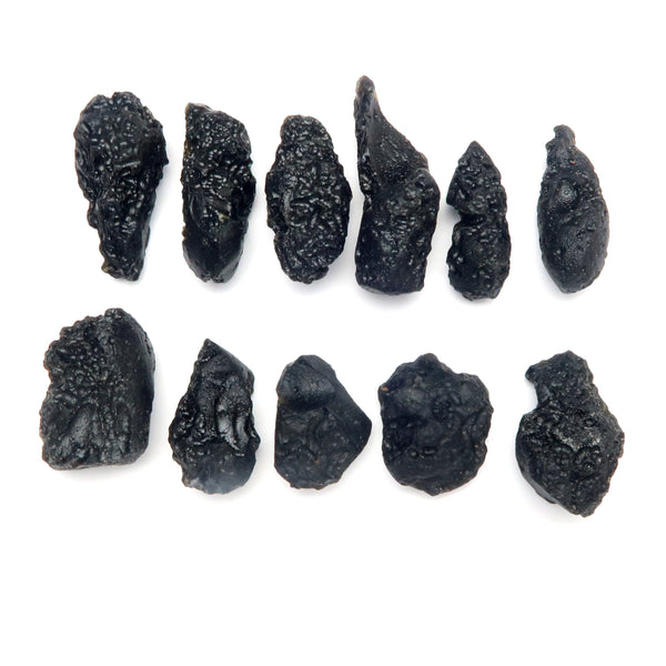 Tektite Mineral 02 - Black Rough Nugget Root Chakra Stones (Set of 11)