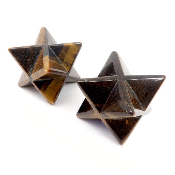 Tigers Eye Merkaba Set 01 - Brown Star Stone Pair