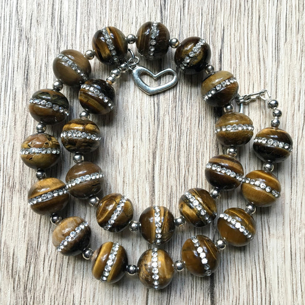 Tigers Eye Necklace 14 Chunky Brown Stone - I Dig Crystals