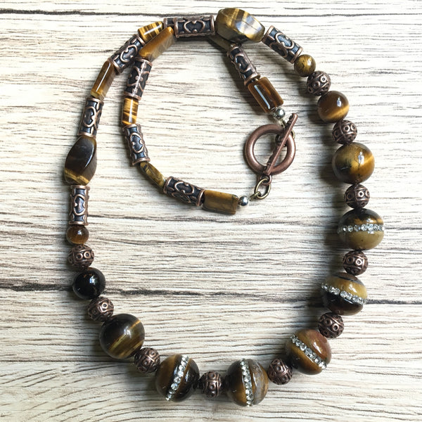 Tigers Eye Necklace 15 Ornate Antiqued Brass Brown Stone