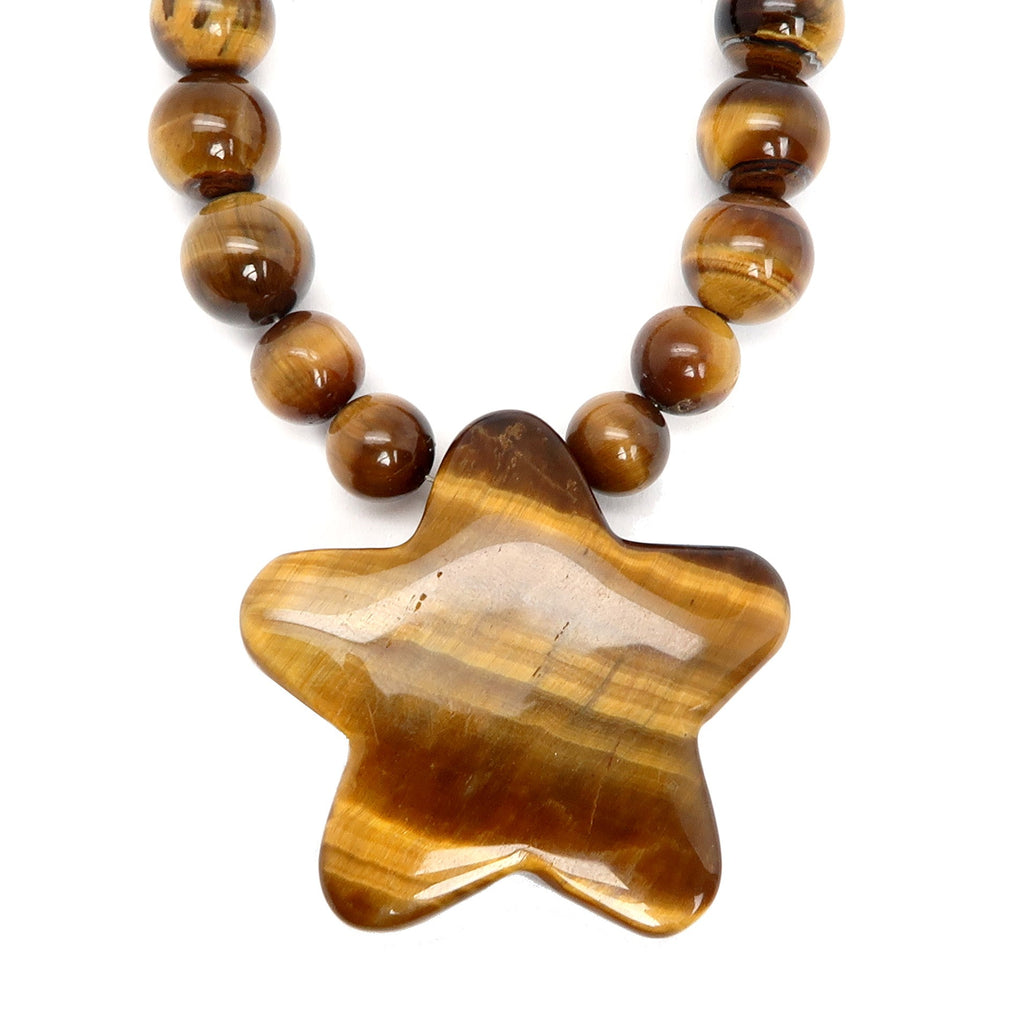 Tigers Eye Necklace 19 Star Golden Brown Red Wood