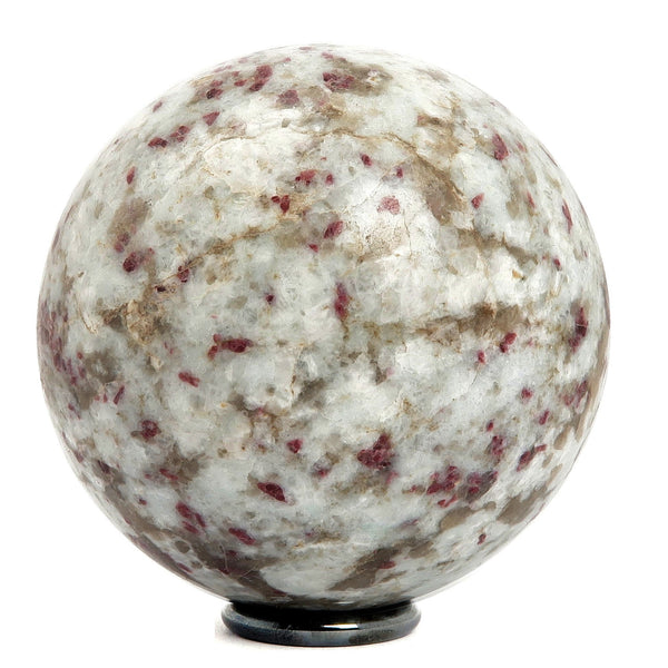 Tourmaline Quartz Ball 01 - Red Rubellite + Stand (2.6 Inches)