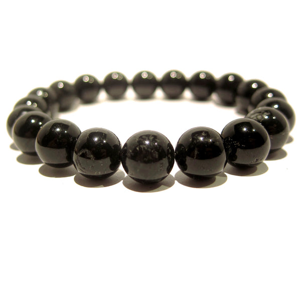 Tourmaline Bracelet 15 Black Stretch 9-10mm Round Stone - I Dig Crystals