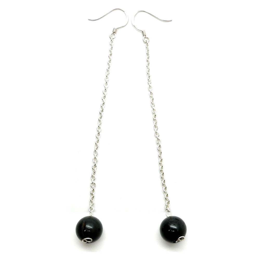 Tourmaline Earrings 06 Black Round Stone Silver Chain Long - I Dig Crystals