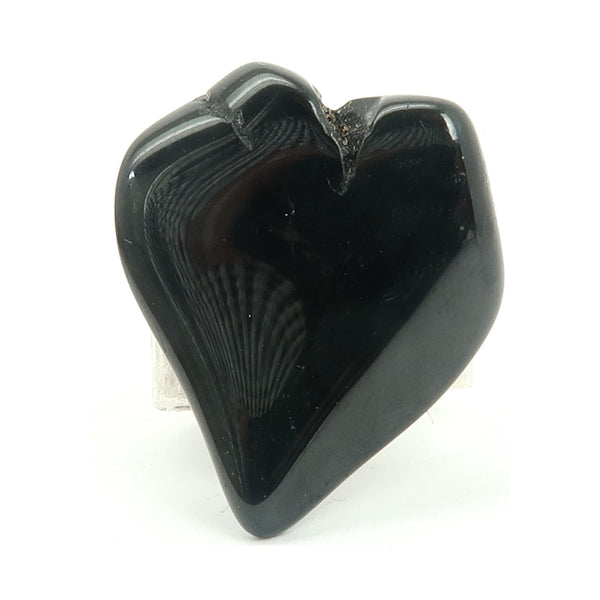 Tourmaline Ring 05 - Black Heart Stone Silver Brass Adjustable