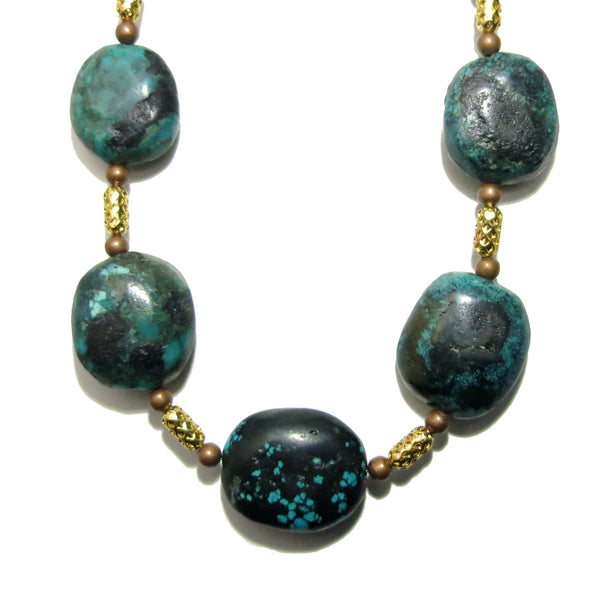 Turquoise Necklace 16 Chunky Oval Beaded Gold