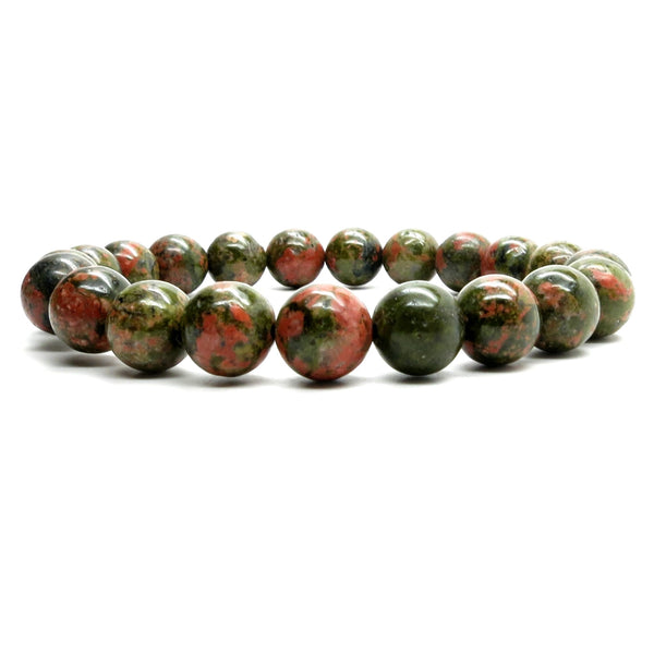 Unakite Bracelet 03 Stretch 9-10mm Round Green Pink Stone - I Dig Crystals