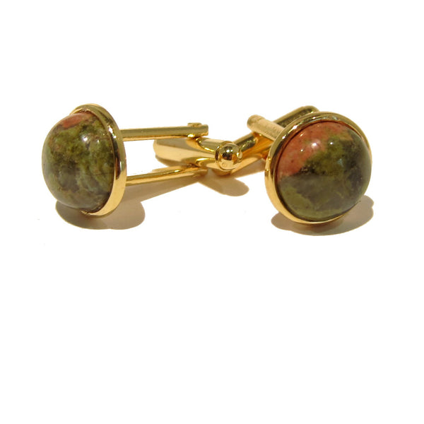 Unakite Cufflinks 01 Gold Green Pink Stone - I Dig Crystals
