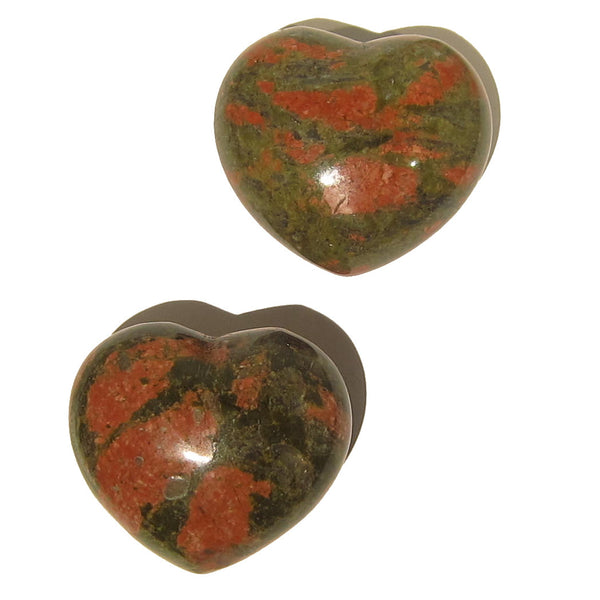 Unakite Heart 01 Set Green Pink Puffy Stone Pair + Pouch - I Dig Crystals