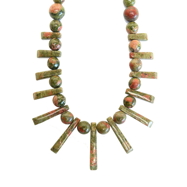 Unakite Necklace 04 Fan Beaded Pink Green