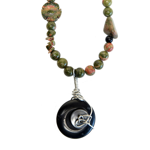 Unakite Necklace 06 Button Black Onyx Obsidian