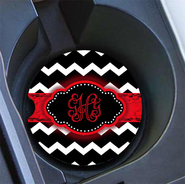 Monogrammed car coaster - Black and white chevron with red grungy ribbon