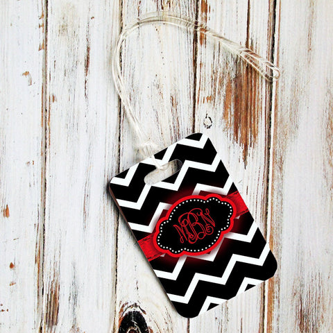 Monogrammed rectangular luggage tag - Chevron with distressed grungy ribbon - Black and red