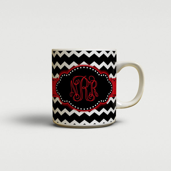 Chevron with grungey ribbon - Custom coffee mug or cup