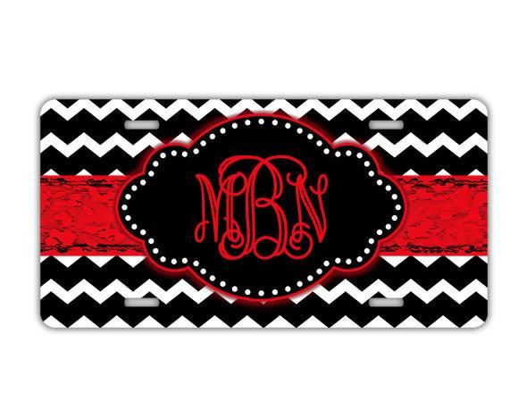 Monogrammed triangular key chain - Chevron with distressed grungy ribbon - Black and red