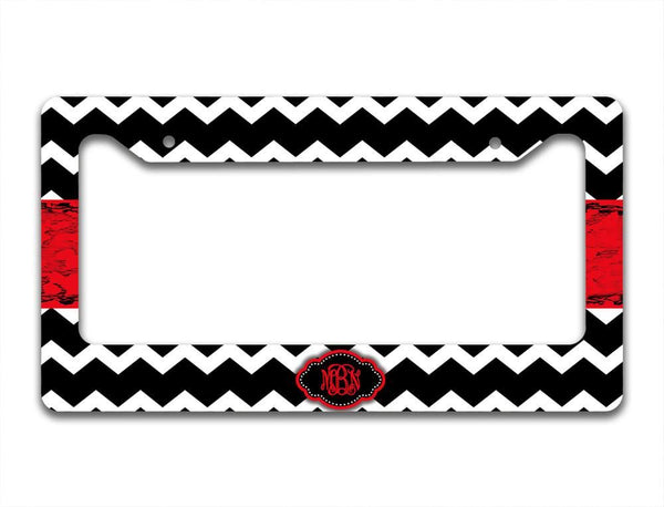 Monogrammed padded seat belt strap cover - Chevron with distressed grungy ribbon - Black and red