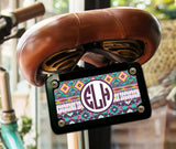 Turquoise yellow purple Tribal pattern - Personalized license plate or frame