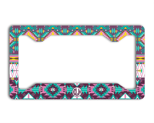 Turquoise yellow purple Tribal pattern - Personalized license plate frame