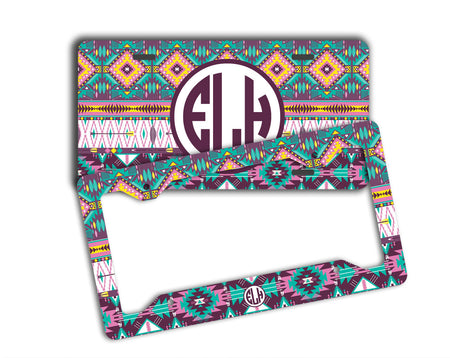 Girly auto accessories - Aztec print in turquoise and pink - Monogrammed license plate or frame