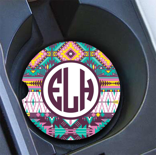 Custom car cup holder coaster with monogram - Turquoise yellow purple Tribal pattern