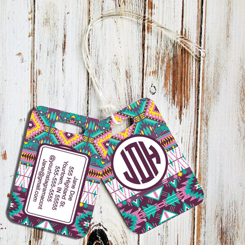 Personalized rectangular tote bag tag - Turquoise yellow purple Tribal pattern