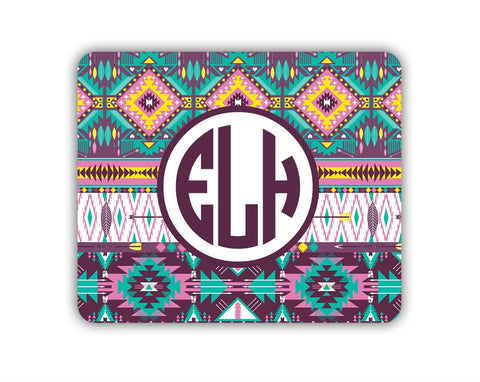Monogrammed mousepad - Turquoise yellow purple Tribal pattern