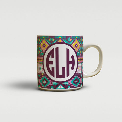 Aztec print in turquoise and yellow - Monogrammed coffee mug or cup
