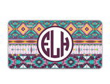Turquoise yellow purple Tribal pattern - Personalized license plate