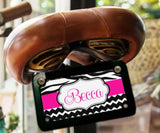 Pink and black zebra stripe with chevron print - Custom front license plate for girls