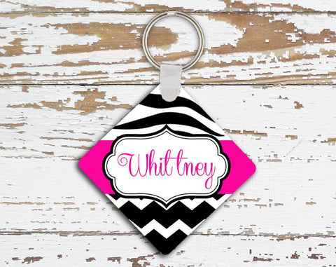 Customizable triangular keychain - Pink and black zebra stripe with chevron print - Monogrammed gift