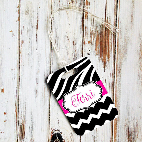 Custom luggage bag tag - Pink and black zebra stripe with chevron print - Identification tag