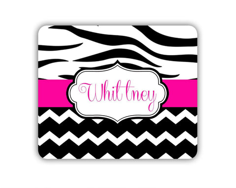 Personalized cubicle decor - Pink and black zebra stripe with chevron print- Cute mouse pad