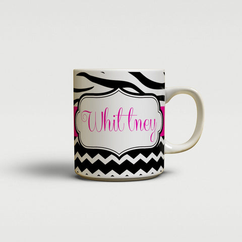 Girly chevron with zebra stripe - Pink and black - Unique coffee mug or cup