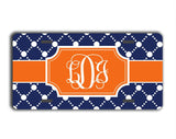 Customizable triangular keychain - Preppy dot pattern in orange and dark blue - Monogrammed gifts for her