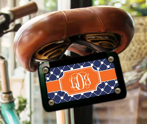 Customizable sports bag tag - Preppy dot pattern in orange and dark blue - Monogrammed identification tag